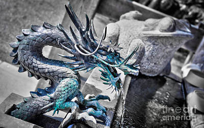 Dragon Photograph - Dragon Fountain by Delphimages Photo Creations