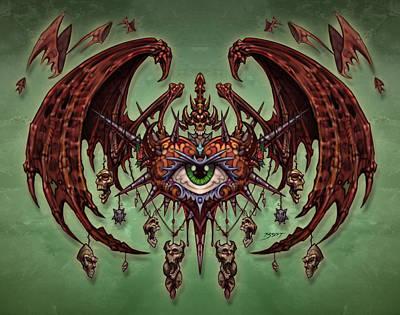 Grim Digital Art - Dragon Heart by David Bollt