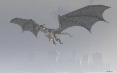 Drake Digital Art - Dragon In The Fog by Ramon Martinez