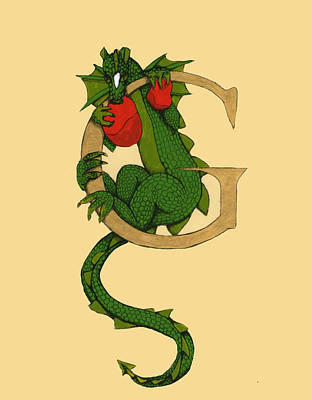 Art Print featuring the drawing Dragon Letter G by Donna Huntriss