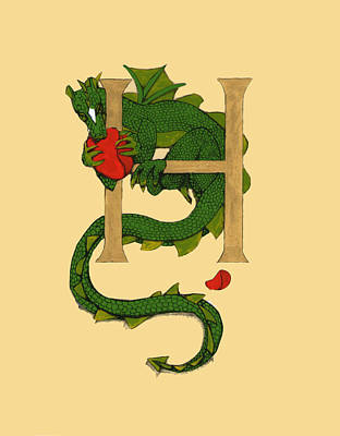 Dragon Letter H Art Print