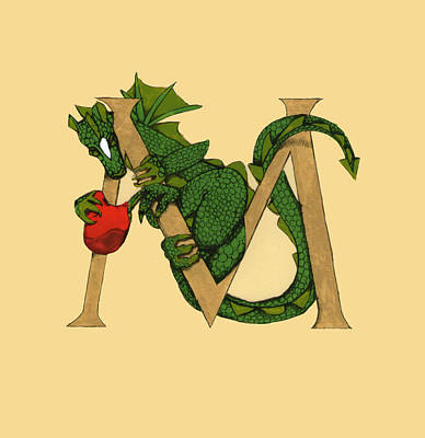Dragon Letter M Art Print