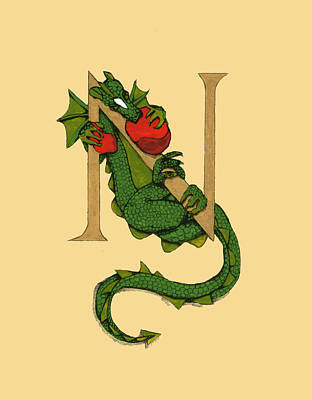 Dragon Letter N Art Print