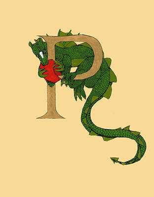 Art Print featuring the mixed media Dragon Letter P by Donna Huntriss