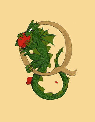 Art Print featuring the mixed media Dragon Letter Q by Donna Huntriss