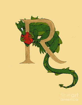 Art Print featuring the mixed media Dragon Letter R by Donna Huntriss