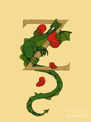 Art Print featuring the mixed media Dragon Letter Z by Donna Huntriss
