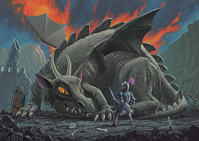 Knights Castle Painting - Dragon Looking At Next Meal by Martin Davey