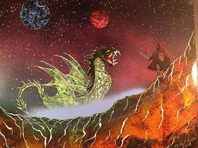 Art Print featuring the painting Dragon by Michael Rucker