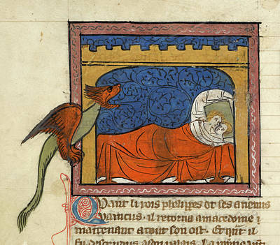 Copulation Photograph - Dragon Next To A Couple In Bed by British Library