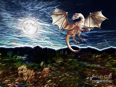 Painting - Dragon Night by Methune Hively