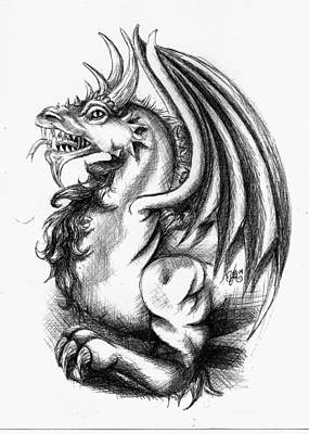 Drawing - Dragon by Scarlett Royal