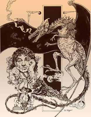 Tolkien Drawing - Dragon Smaug-tolkien Appreciation by Derrick Higgins