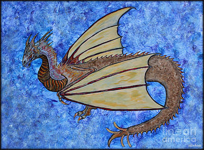 Painting - Dragon The Defender Fantasy 2 by Ella Kaye Dickey