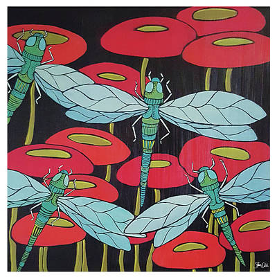 Dragonflies Painting - Dragonflies & Poppies by Shanni Welsh