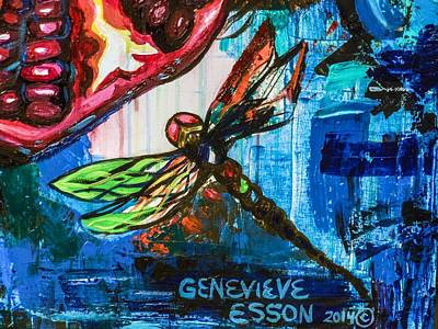 Metal Dragonfly Painting - Dragonflies Abstract 4 by Genevieve Esson
