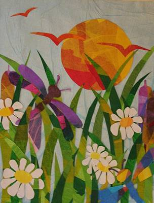 Art Print featuring the mixed media Dragonflies And Daisies by Diane Miller