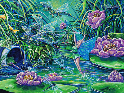 Painting - Dragonflies by Gail Butler