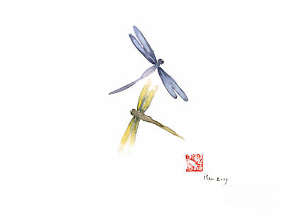 Dragonflies Painting - Dragonflies Love Yellow Blue Brown Dragonfly Lake Water Watercolor Painting by Johana Szmerdt