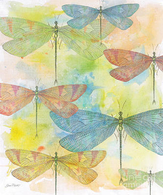 Digital Watercolor Painting - Dragonflies On Watercolor by Jean Plout