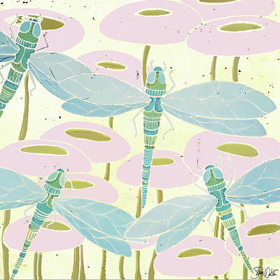 Dragonflies Painting - Dragonfly & Poppies II by Shanni Welsh