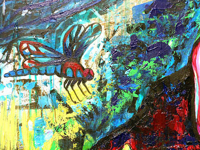 Metal Dragonfly Painting - Dragonfly Abstract 1 by Genevieve Esson