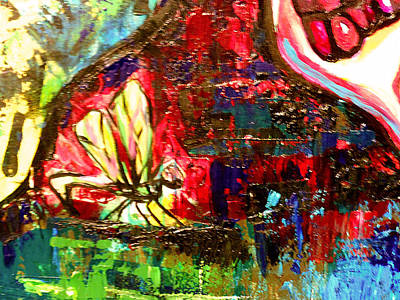 Metal Dragonfly Painting - Dragonfly Abstract 2 by Genevieve Esson