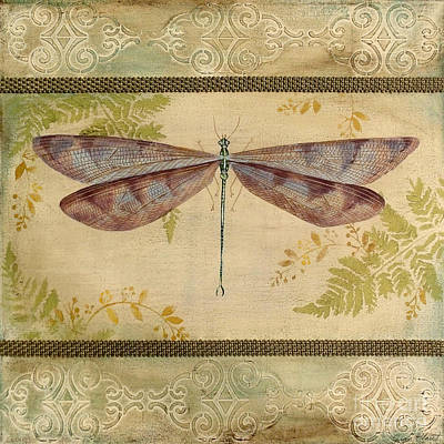 Embossed Painting - Dragonfly Among The Ferns-3 by Jean Plout
