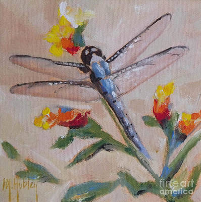 Dragonflys Painting - Dragonfly And Flower by Mary Hubley