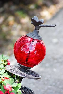 Dragonfly Ornament Photograph - Dragonfly And Glass Ball Garden Ornament by Cynthia Woods