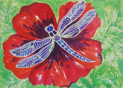 Painting - Dragonfly And Poppy by Ellen Levinson