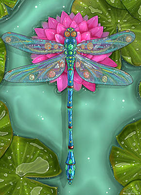 Waterlily Wall Art - Painting - Dragonfly And Water Lily by Zdenek Sasek