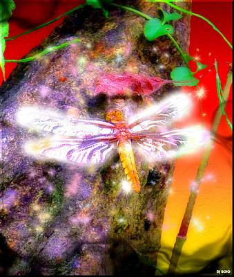 Art Print featuring the digital art Dragonfly by Daniel Janda