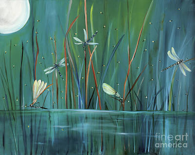 Moon Painting - Dragonfly Diner by Carol Sweetwood