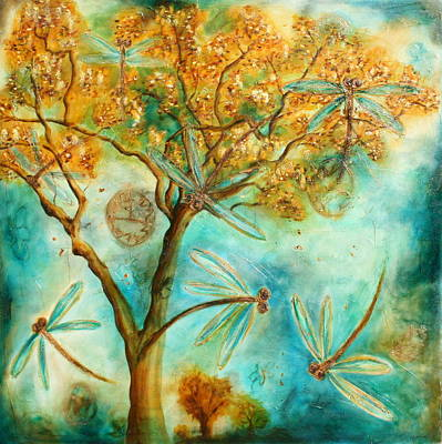Alice In Wonderland Painting - Dragonfly Flirtation by Lyndsey Hatchwell