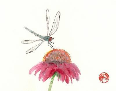 Dragonfly Flower Art Print