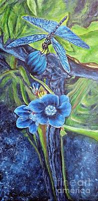 Prussian Blue Painting - Dragonfly Hunt For Food In The Flowerhead by Kimberlee Baxter