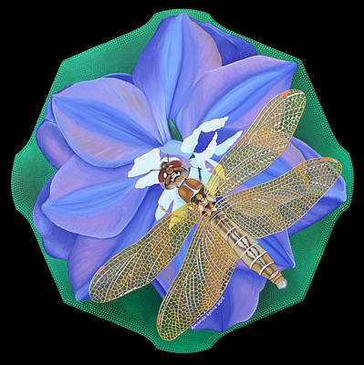 Painting - Dragonfly On Purple Flower by Amanda  Lynne