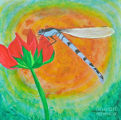 Dragonfly On Red Flower Original by Sally Rice