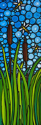 Flies Painting - Dragonfly Pond By Sharon Cummings by Sharon Cummings