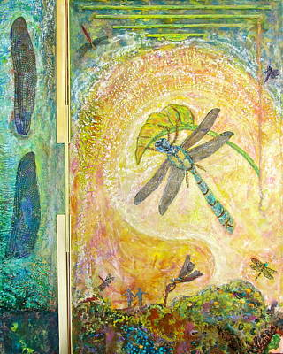 Metal Dragonfly Painting - Dragonfly Rendezvous by Joe Bourne