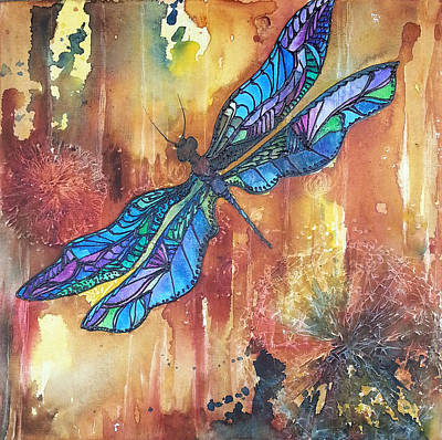 Glass Dragonfly Painting - Dragonfly Rust by Christy  Freeman