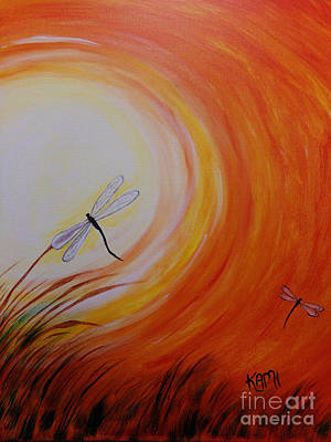 Painting - Dragonfly Sun 2 by Kami Catherman