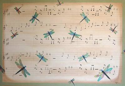 Art Print featuring the painting Dragonfly Symphony by Cindy Micklos