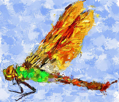 Dragonfly Thinking Art Print by Yury Malkov