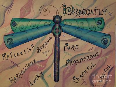 Characteristics Painting - Dragonfly Totem by Sharon Schwane