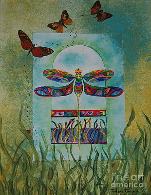 Painting - Dragongly Butterfly Flight by Tamyra Crossley