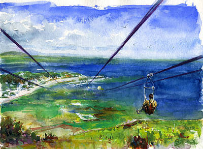 Painting - Dragon's Breath Zip Line by John D Benson