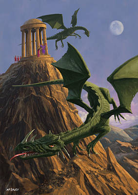 Dragons Flying Around A Temple On Mountain Top  Print by Martin Davey