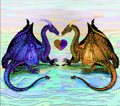 Digital Art - Dragons Love by Michele Avanti